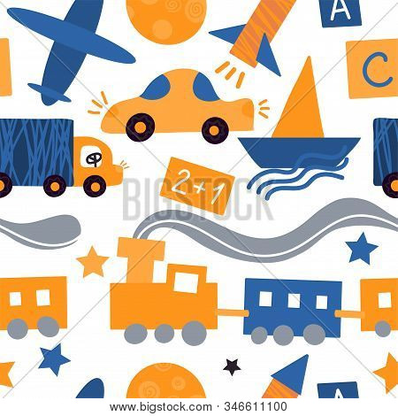 Vector Seamless Pattern With Vehicles And Toys For Children. Yellow And Blue Background For A Childr
