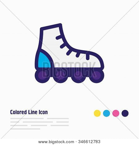 Vector Illustration Of Roller Skates Icon Colored Line. Beautiful Transport Element Also Can Be Used