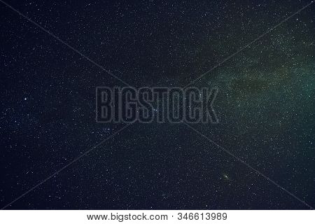 View Of Starry Night Sky With Milky Way Galaxy, Constellations And Space Dust. Astronomy, Universe A