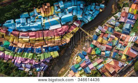 View From Above Of Colorful Village (kampung Warna Warni) Jodipan And Tridi Village, Malang East Jav