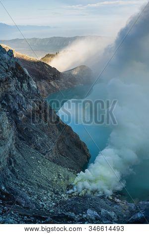 Kawah Ijen, Mount Ijen Volcano With Crater Lake On Sunrise