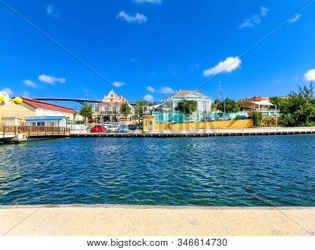 Queen Juliana Bridge Over Curacao. The Island Curacao Is A Tropical Paradise In The Antilles In The