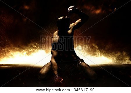 The Kickboxer Is Disappointed With The Loss And Punches The Floor In Frustration. Mongkhon. The Conc