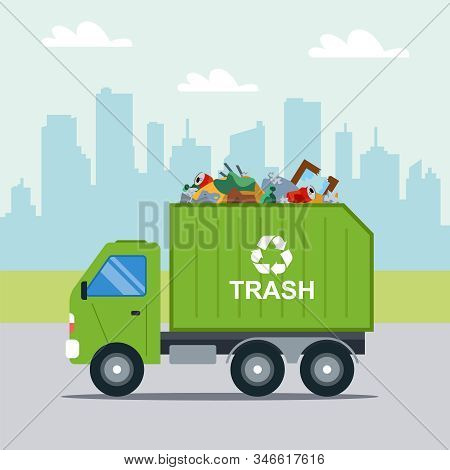 Transportation Of Municipal Waste In A Municipal Green Truck. Flat Vector Illustration