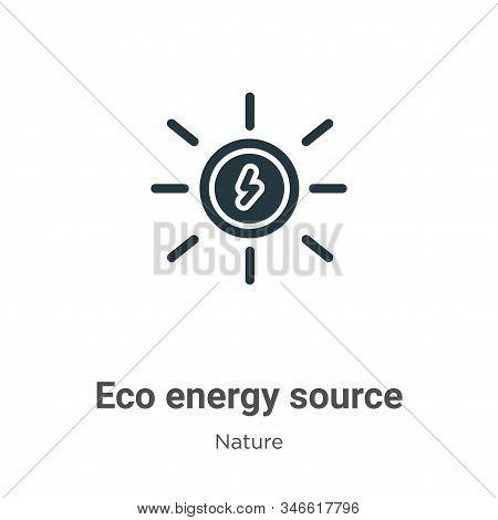 Eco Energy Source Glyph Icon Vector On White Background. Flat Vector Eco Energy Source Icon Symbol S