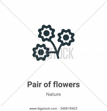 Pair of flowers icon isolated on white background from nature collection. Pair of flowers icon trend