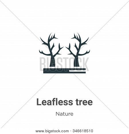 Leafless Tree Glyph Icon Vector On White Background. Flat Vector Leafless Tree Icon Symbol Sign From