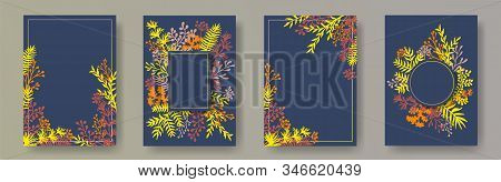 Simple Herb Twigs, Tree Branches, Leaves Floral Invitation Cards Templates. Herbal Frames Elegant Ca