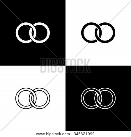 Set Wedding Rings Icon Isolated On Black And White Background. Bride And Groom Jewelery Sign. Marria