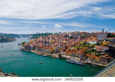 Portugal, Douro River, Wonderful Panoramic View Of Porto, Tourist Centre Of Porto,  Clear Sunny Day
