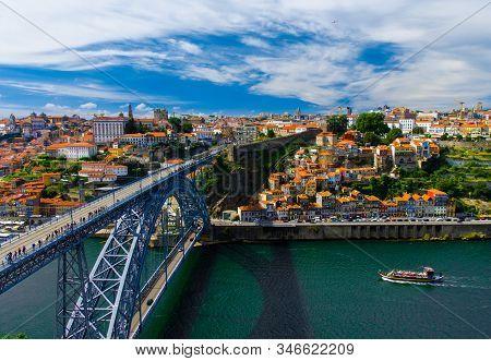 Portugal  Porto Panorama, Panoramic View Of The Eiffel Bridge, Ponte Dom Luis,  Bridge Ponti Di Don