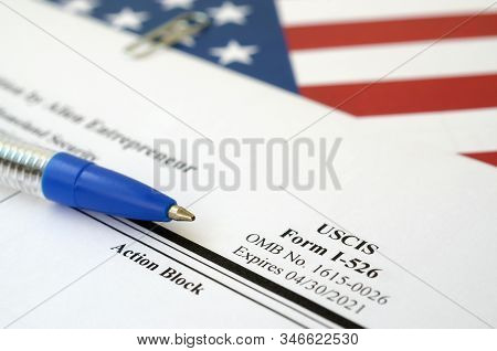 I-526 Immigrant Petition By Alien Entrepreneur Blank Form Lies On United States Flag With Blue Pen F