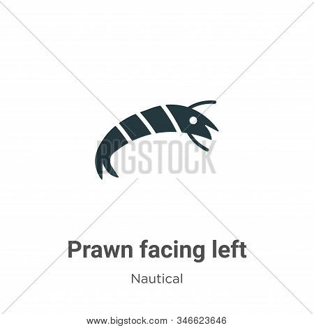 Prawn facing left icon isolated on white background from nautical collection. Prawn facing left icon