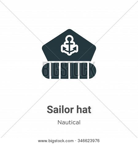 Sailor Hat Glyph Icon Vector On White Background. Flat Vector Sailor Hat Icon Symbol Sign From Moder