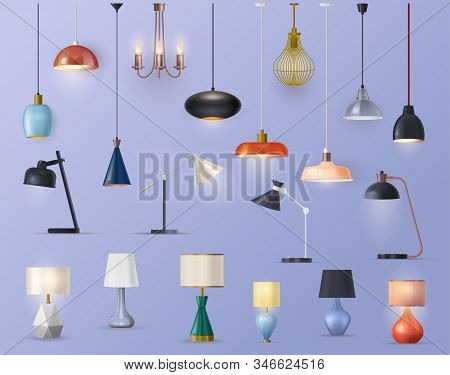 Lams And Chandeliers, Vector Realistic Sets, House Illumination And Electric Furniture Decor. Modern