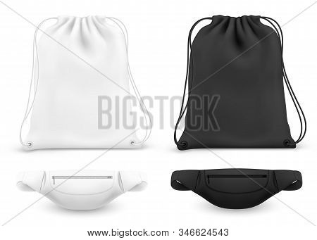 Drawstring Backpack And Belt Fanny Bag, Vector White And Black Mockups. Gym Or Fitness Bag Pouch Wit