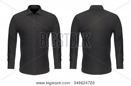 Men Dress Shirt, Vector Black Mockup Template With Long Sleeves, Buttons And Collar. Shirt Mock Up S