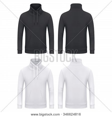 Men Hoodie Or Kangaroo Sweatshirt Without Hood, Vector Black And White Mockup Template Collar On Dra