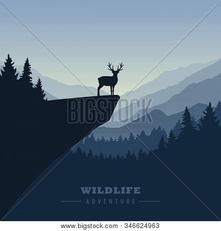 Wildlife Adventure Elk In The Wilderness On A Cliff Vector Illustration Eps10