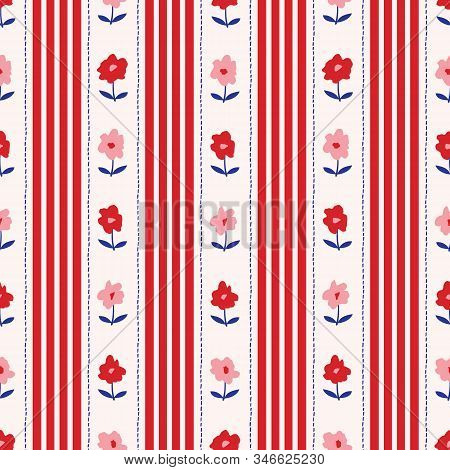 Organized Colorful Ditsy Graphic Floral And Vertical Stripes And Stitches Vector Seamless Pattern. S