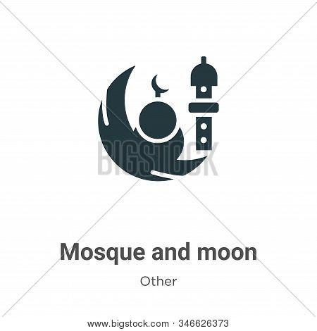 Mosque and moon icon isolated on white background from other collection. Mosque and moon icon trendy