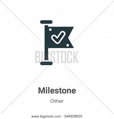Milestone Glyph Icon Vector On White Background. Flat Vector Milestone Icon Symbol Sign From Modern