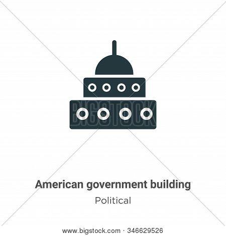 American Government Building Glyph Icon Vector On White Background. Flat Vector American Government
