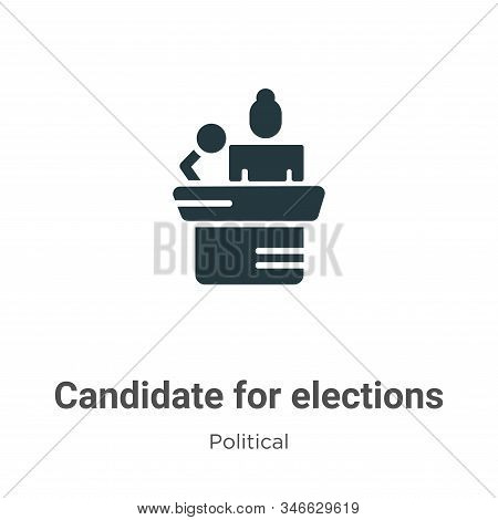 Candidate For Elections Glyph Icon Vector On White Background. Flat Vector Candidate For Elections I
