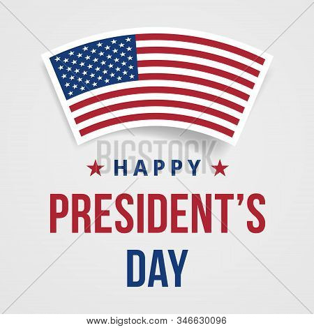 Presidents Day Congratulations Banner. Festive Greeting Card With American Flag And Text. Creative 3