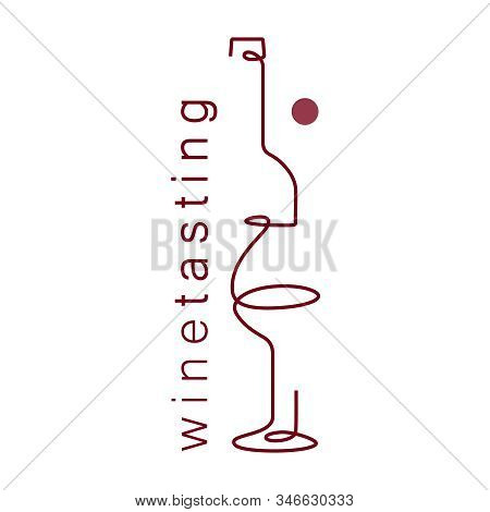 Wine Glass And Bottle. Single Line. Drawing In A Modern Style. Design Element For Wine Tasting, Menu