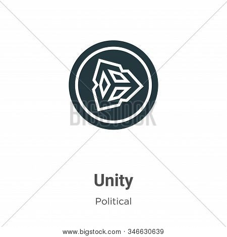 Unity Glyph Icon Vector On White Background. Flat Vector Unity Icon Symbol Sign From Modern Politica