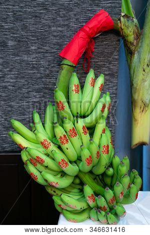 Banana Fruits With Red Chinese Character Stickers Meaning Double Happiness In Traditional Chinese We