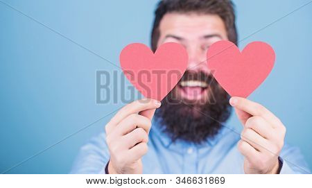 Dating And Relations Concept. Happy In Love. Love Is Amazing. Man Bearded Hipster With Heart Valenti