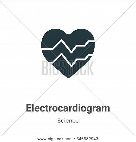 Electrocardiogram Glyph Icon Vector On White Background. Flat Vector Electrocardiogram Icon Symbol S