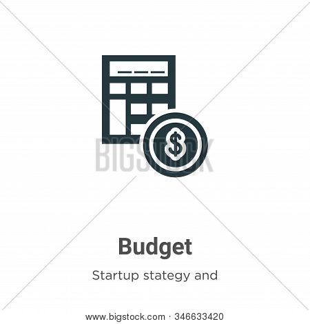 Budget icon isolated on white background from startup stategy and success collection. Budget icon tr
