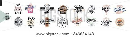 Logo - Cafe And Restaurants. Cat Cafe, Frozen Yoghurt Bar, Donut, Ramen, Craft Beer Pub, Cake, Choco