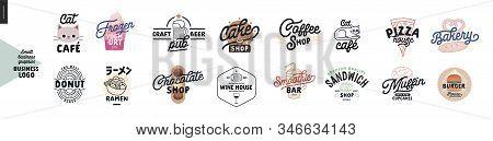 Logo - Cafe And Restaurants. Cat Cafe, Frozen Yoghurt Bar, Donut, Ramen, Craft Beer Pub, Cake, Choco