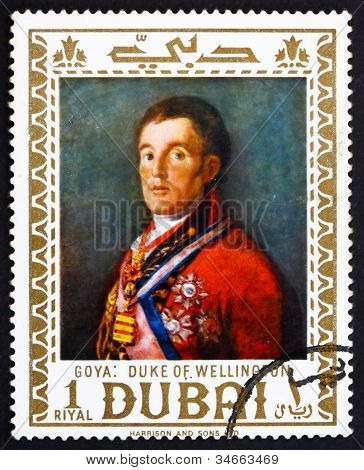 Postage stamp Dubai 1967 Duke of Wellington by Francisco Goya