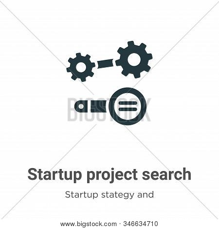 Startup Project Search Glyph Icon Vector On White Background. Flat Vector Startup Project Search Ico