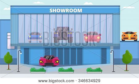 Showroom Cars For Sale Vector Illustration. Front Facade Of Modern Building With Different Autos Exh