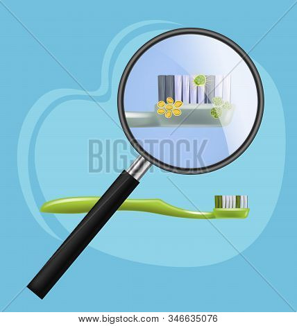Toothbrush With Harmful Microorganisms, Bacteria, Viruses Visible Under Magnifying Glass Vector Illu