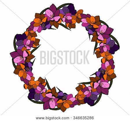 Hand Drawn Spring Objects Frame. Collection Of Spring Accessories In Circle Shape Isolated On White