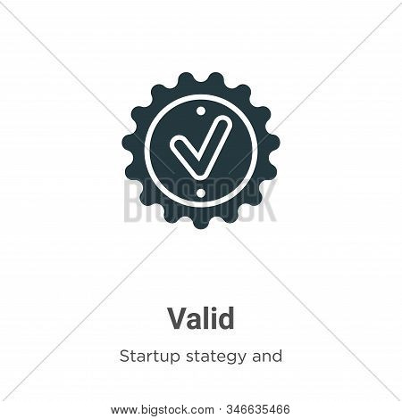 Valid icon isolated on white background from startup stategy and success collection. Valid icon tren
