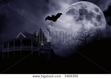 Halloween Bat And House