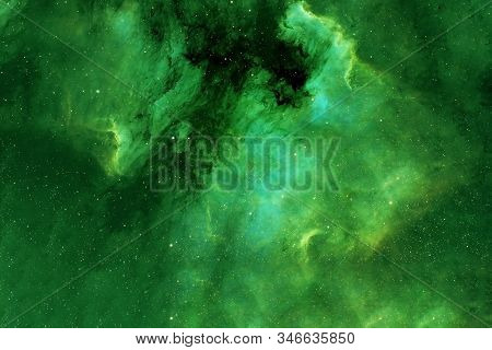Green Galaxy With Stars. Elements Of This Image Were Furnished By Nasa.