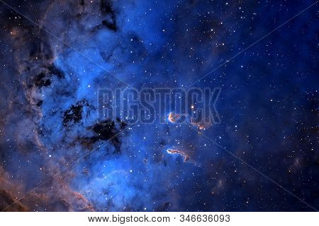 Beautiful Blue Distant Galaxy. Background Texture. Elements Of This Image Were Furnished By Nasa.