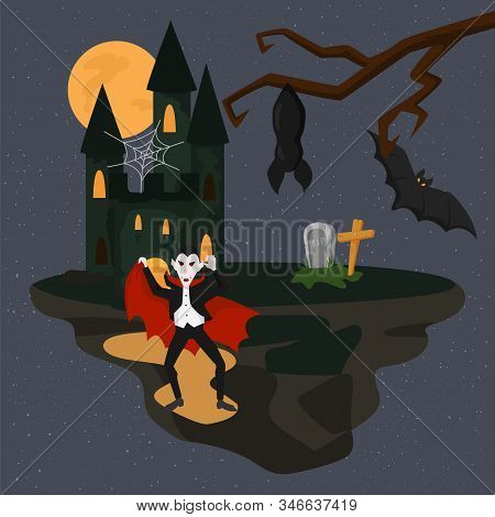 Horrible Scary Dracula Vampire On Halloween Dark Night Vector Illustration. Castle Mansion Of Dracul
