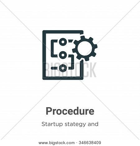 Procedure icon isolated on white background from startup collection. Procedure icon trendy and moder