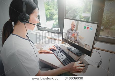 Doctor And Senior Man Patient Medical Consultation, Telehealth, Telemedicine, Remote Health Care Con
