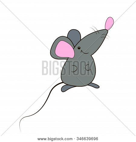 Funny Gray Mouse With A Pink Nose, Isolated On A White Background. A Rat Icon. Mascot Of The Year. C